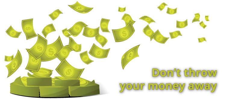 blowing money away